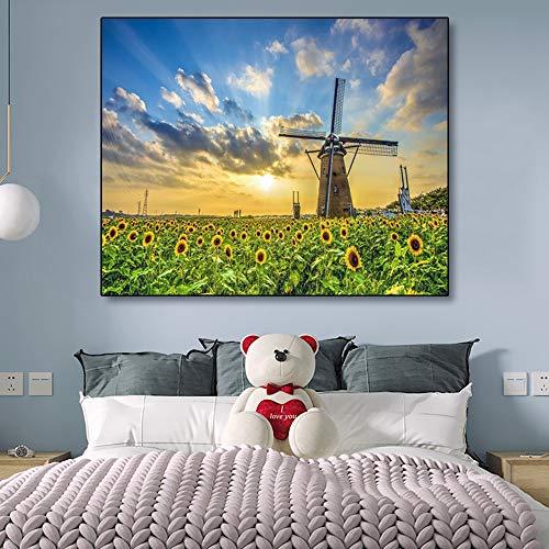 SADHAF Canvas Schilderij Zonnebloem Hemel Poster Tuin Molen Muurschildering Woonkamer Woondecoratie A6 70x100cm