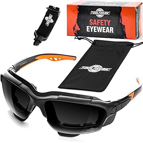 ToolFreak Spoggles Gafas de Seguridad de Trabajo y Deporte, Cristales Antideslumbrantes Tintados Ahumados sin Distorsión