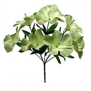 5 Hibiscus Wedding Centerpieces Bridal Bouquet Silk Flowers Bush Color Sage Green