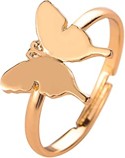 HUJUON Minimalism Metal Gold Butterfly Ring.Cute Butterflys Adjustable Tail Ring for Women Lovers Teens Jewelry