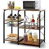 Estante de cocina de metal y madera, estante de almacenamiento multifuncional, estantería de cocina para horno de microondas (3 estantes)