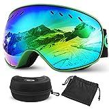 Glymnis Gafas de Esquí Máscara Gafas Esqui Snowboard OTG Super Gran Angular UV400 Protección para Hombre Mujer Adultos Jóvenes (Verde)