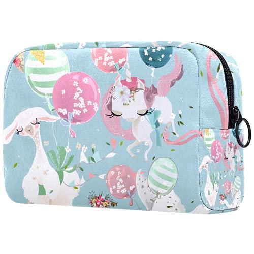 Neceser de maquillaje para mujer, bolso cosmético, kit de viaje organizador, bebé volador, alpaca unicornio