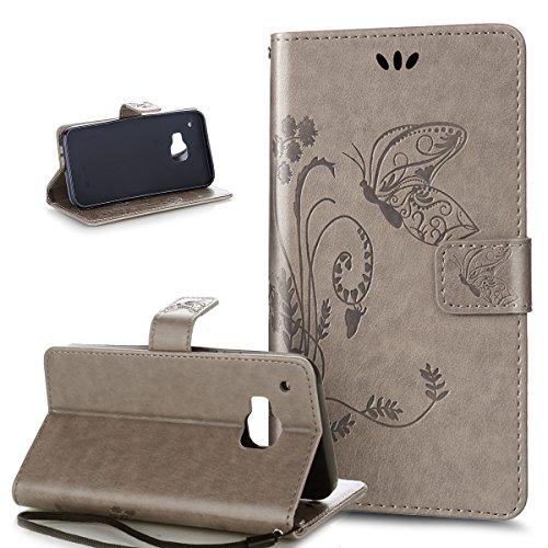 Kompatibel mit HTC One M9 Hülle,HTC One M9 Handyhülle,Prägung Groß Schmetterling Blumen PU Lederhülle Flip Hülle Cover Ständer Etui Karten Slot Wallet Tasche Hülle Schutzhülle für HTC One M9,Grau
