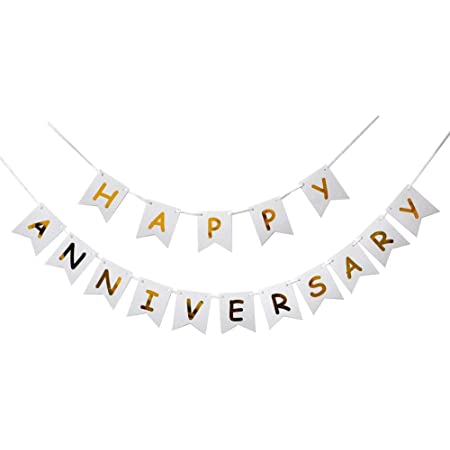 HK balloons® Happy Anniversary Banner for Party Decoration (Happy Anniversary Banner-White)