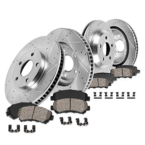 Callahan CDS02156 FRONT 336mm + REAR 352mm D/S 5 Lug [4] Rotors + Brake Pads + Clips [fit Dodge Ram 1500 Durango Aspen]