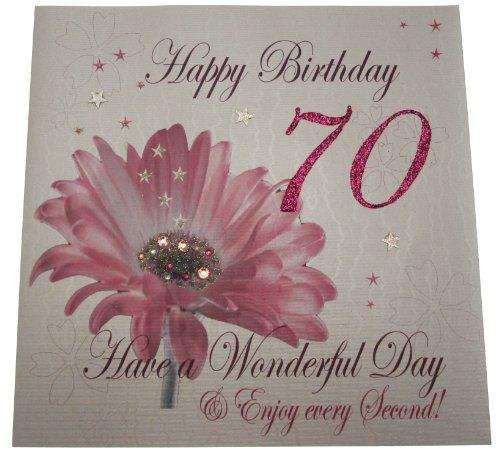 witte katoenen kaarten Code XLWBA70 Happy Birthday 70 Have A Wonderful Day Handgemaakte Grote Verjaardagskaart Bloem, Roze
