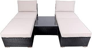 DIMAR garden Outdoor Rattan Patio Furniture Sectional Sofa Wicker Furniture Conversation Set Lawn Garden Pool Courtyard Table Backyard Chair Combination (5 Piece Black)