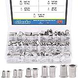 Glarks 180Pcs #8-32#10-24 1/4'-20 5/16'-18 3/8'-16 UNC Rivet Nuts Assortment Kit 304 Stainless Steel Flat Head Threaded Insert Nutserts Rivnuts Set