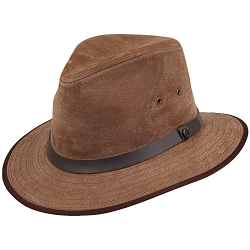 Jaxon & James Chapeau Fedora Safari en Cuir Nubuck Marron Large