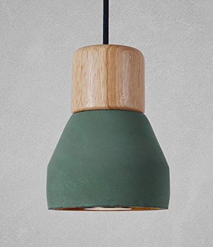 QMMCK Lampada A Sospensione A Mano Paralume Di Cemento Piedistallo In Legno E27 220V Impiccagione Green
