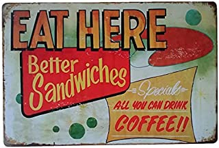 +Urbano Eat Here Dinner Tin Sign for Kitchen, Bar, Home, Bussiness Vintage Wall Decor - Retro Metal Signs 12x8 Inches Size