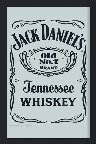 empireposter - Jack Daniels - Logo 2 - Größe (cm), ca. 20x30 - Bedruckter Spiegel, NEU - Beschreibung: - Bedruckter Wandspiegel mit schwarzem Kunststoffrahmen in Holzoptik -