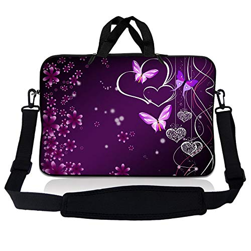 LSS Compatible with Acer, Asus, Dell, HP, Sony, MacBook and more - Purple Heart Butterfly 14 inch Laptop Sleeve Bag with Adjustable Handle | Carrying Case with Soft Wide Padded Strap