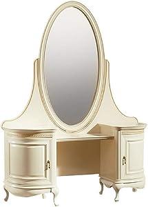 Casa-Padrino Mesa de Maquillaje Barroco de Lujo Crema/Oro 134 x 45 x H. 180 cm - Suntuoso Mesa de Peluqueria con Espejo Ovalado - Calidad de Lujo
