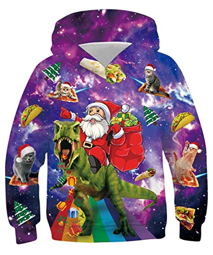Boys Xmas Pullover Hoodies 14-16 Cool Hooded Sweatshirt for Christmas 3D Print Pizza Cat Colourful Hoody for Party