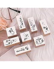 20 قطعة من الأختام المطاطية الخشبية العتيقة، مجموعة الطوابع المطاطية المثبتة من النباتات والزهور لنمط اصنعها بنفسك ، مذكرات حروف ودفتر القصاصات الحرفية MMK09D