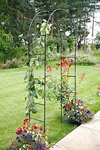 PJF Arco de jardín de Metal Negro Grande de 2,4 M, cenador Tubular Fuerte Resistente para Rosas, Arco de Soporte para Plantas trepadoras