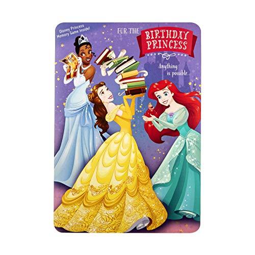 Hallmark Kids' Birthday Card and Memory Card Game - Disney Princess Desig