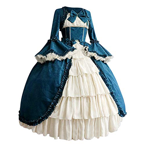 Sannysis Kleid Frauen Spitze Langarm Bowtie Cosplay Kostüme Partykleid Mit Schleife Gothic Cosplay Swing Kleider Princess Dress Kawaii Sweet...