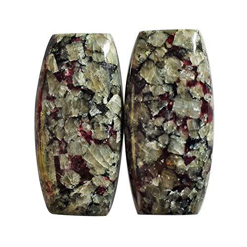 Par de cabujones de eudialyte natural de Rusia, tamaño 27 x 13 x 5 mm, par de pendientes, bisutería, proveedores de eudialyte, AG-13714