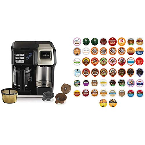 Hamilton Beach FlexBrew Coffee Maker, Single Serve & Full Pot, Compatible with K-Cup Pods or Grounds & Variety Pack of Coffee, Tea, and Hot Chocolate - Great Sampler of Coffee, Tea, and Hot Cocoa