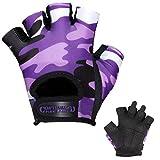 Contraband Pink Label 5217 Womens Design Series Camo Print Lifting Gloves (PAIR) - Lightweight Vegan Medium Padded Microfiber Amara Leather w/ Griplock Silicone (Purple, Medium)