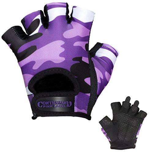 Contraband Pink Label 5217 Womens Design Series Camo Print Lifting Gloves (Pair) - Lightweight Vegan Medium Padded Microfiber Amara Leather w/ Griplock Silicone (Purple, Small)