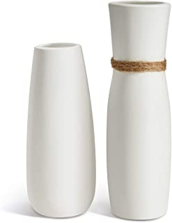 Opps White Ceramic Vases with differing Unique Rope Design for Home Décor – Set of 2