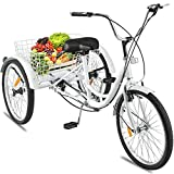 """Adult Tricycle 3 Wheel 24""""Inch 7 Speed Pedicab Trishaw Trike Bicycle Exercise Shopping Sports Game Scooters Wagons Energy Large Rear Back Seat Basket Front V-Brake Wheel Carry Loading Capacity 330 lbs"""