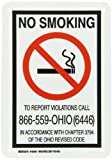 Brady 103491 Plastic, 10' X 7' Legend 'No Smoking To Report Violations Call 866-559-Ohio (6446) In Accordance With Chapter 3794 Of The Ohio Revised Code.'