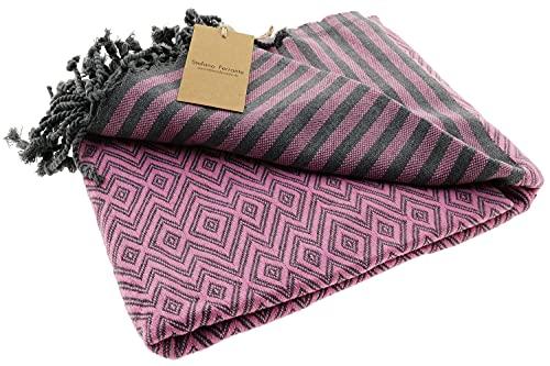 Bella Casa KELIM LUX Hamamtuch Saunatuch Pestemal Fouta Strandtuch Badetuch Handtuch Baumwolle Backpacker 100x180 cm (Pink)