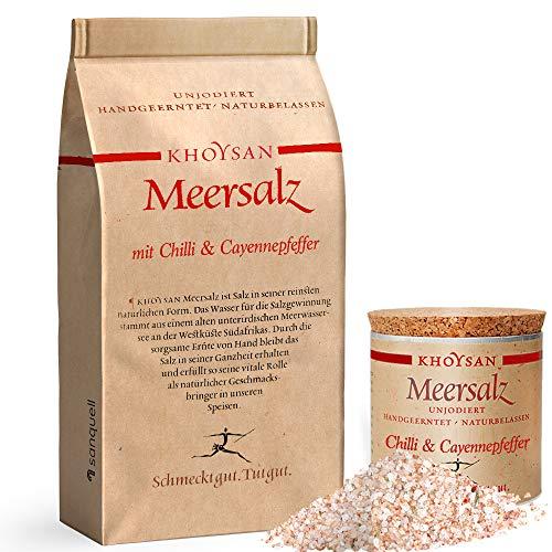 Sanquell GmbH Khoysan Meersalz mit Chili & Cayennepfeffer | naturbelassen | eines der besten Salze der Welt | 1kg Nachfüllbeutel & 200g Deko-Box (gefüllt)