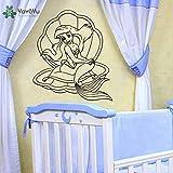 Calcomanía De Pared De Vinilo Arte Extraíble Decoración De Pared Daga Dibujos Animados Sirenita Habitación De Niños Diy Decoración Del Hogar Mural 57 * 65Cm