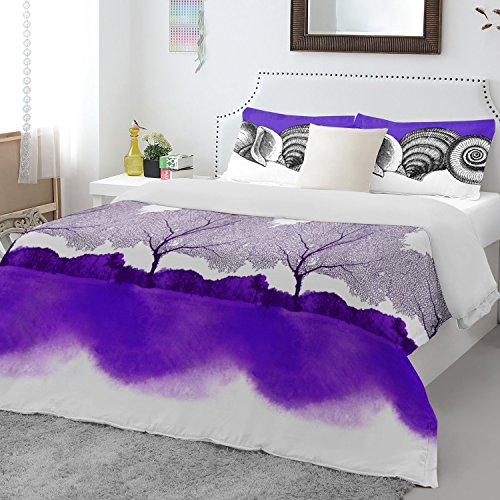 Spaces Atrium Plus 200 TC Cotton Double Bedsheet with 2 Pillow Covers - Purple