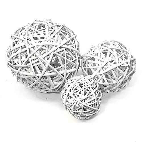 Boules décoratives blanches en osier, 10 cm, 15 cm, 20 cm, Saule, geweißt, 15 cm