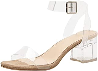 Midress Women's Clear Strappy Block Chunky High Heel Open Peep Toe Sandal Square Heeled PVC Transparent Sandals Wedding Shoes