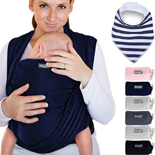 Makimaja - Écharpe de portage 100% coton - bleu marine - porte-bébé de haute qualité pour nouveau-nés et bébés jusqu'à 15 kg - incl. sac de rangement et bavoir bébé