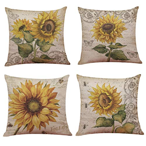Ogrmar 4PCS 18'x18' Throw Pillow Covers Christmas Decorative Couch Pillow Cases Cotton Linen Pillow Square Cushion Cover for Sofa, Couch, Bed and Car (Sunflower)