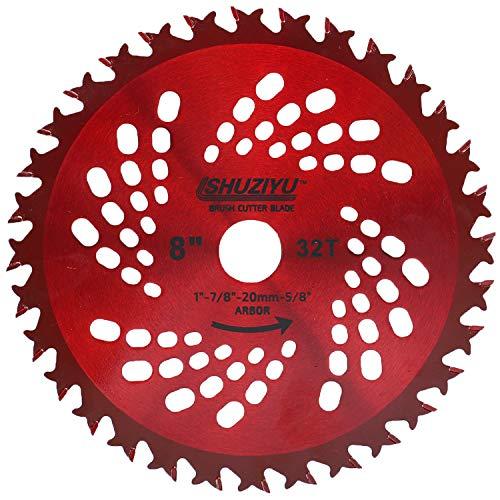 LSHUZIYU, Arbor de 20,3 cm - 32T avec adaptateur de rondelle de 2,5 cm - 20 mm - 5/8, lame de débroussailleuse
