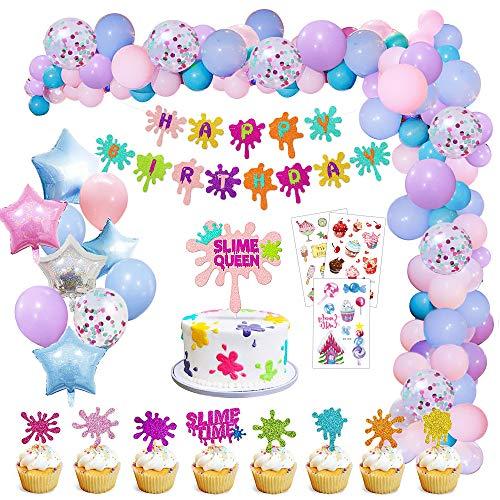 MMTX Decorazioni di Compleanno, Palloncini Compleanno Pastello Party Banner Decorazione e Tatuaggi per Bambino Compleanno Festa Anniversari Matrimoni