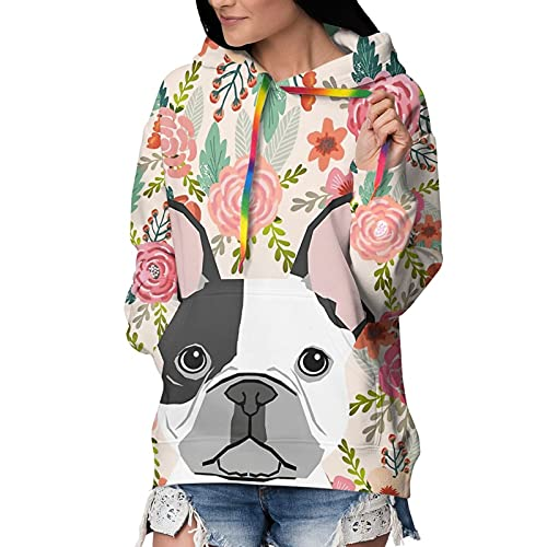 Cute French Bulldog Womens 3D Print Hoodie Fashion Hooded Pullover Thick Sweatshirt with Colorful Hat Rope Black