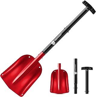 ORIENTOOLS Snow Shovel with 3 Piece Collapsible Design, Aluminum Lightweight Sport Utility Shovel, 26''-32'' Portable and Adjustable Snow Shovel for Car, Camping, Garden (9