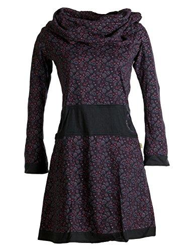 Vishes - Alternative Bekleidung - Bedrucktes Kleid aus Baumwolle mit Schalkragen schwarz-rot 40-42