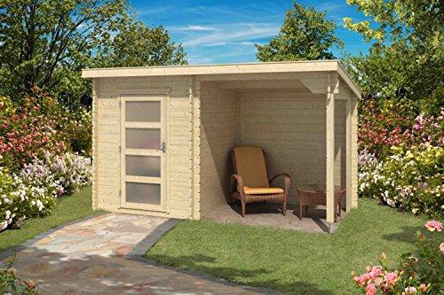 Gartenhaus Pultdach Schleppdach G176 inkl. Schleppdach - 28 mm Blockbohlenhaus, Grundfläche: 6,35 m², Pultdach