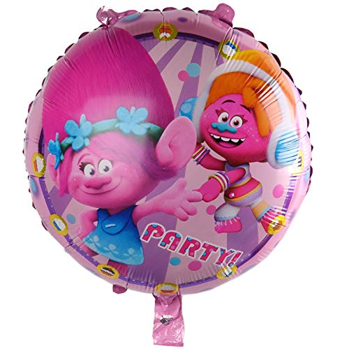 Review Xucus New 50pcs Round Trolls Aluminum Balloon Party Toy Party Birthday Decorative Balloon