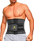 NINGMI Waist Trainer for Men Sweat Belt - Sauna Trimmer Stomach Wraps Workout Band Waste Shaper Corset Belly with Strap Gray