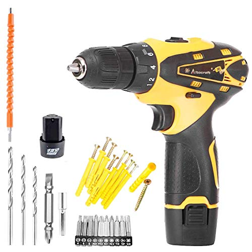 Runwet_Multi-Function Cordless Drill Machine | 12V Lithium-Ion 1.5Ah with 2 Batteries | Two Speed Control | LED Light Guided |Keyless Chuck | Reverse Forward | Motion Screw Driver With Bits Set