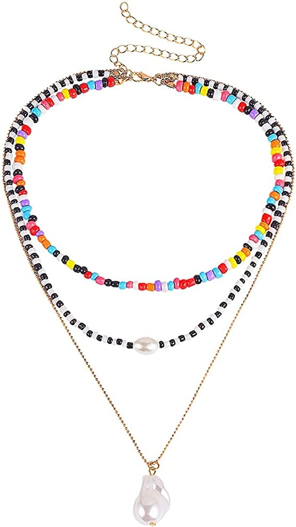 Jeairts Boho Beaded Choker Necklace Gold Pearl Layered Pendant Necklaces Fashion Y2k Rainbow Beads Necklace Chain Jewelry for Women and Girls