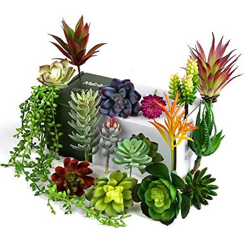 Meneco Faux Succulents Artificial Plants - 16 Pack Lifelike Artificial Succulent Plants Unpotted